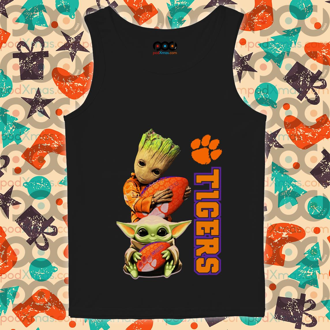 Baby Groot and Baby Yoda hug Clemson Tigers tank top