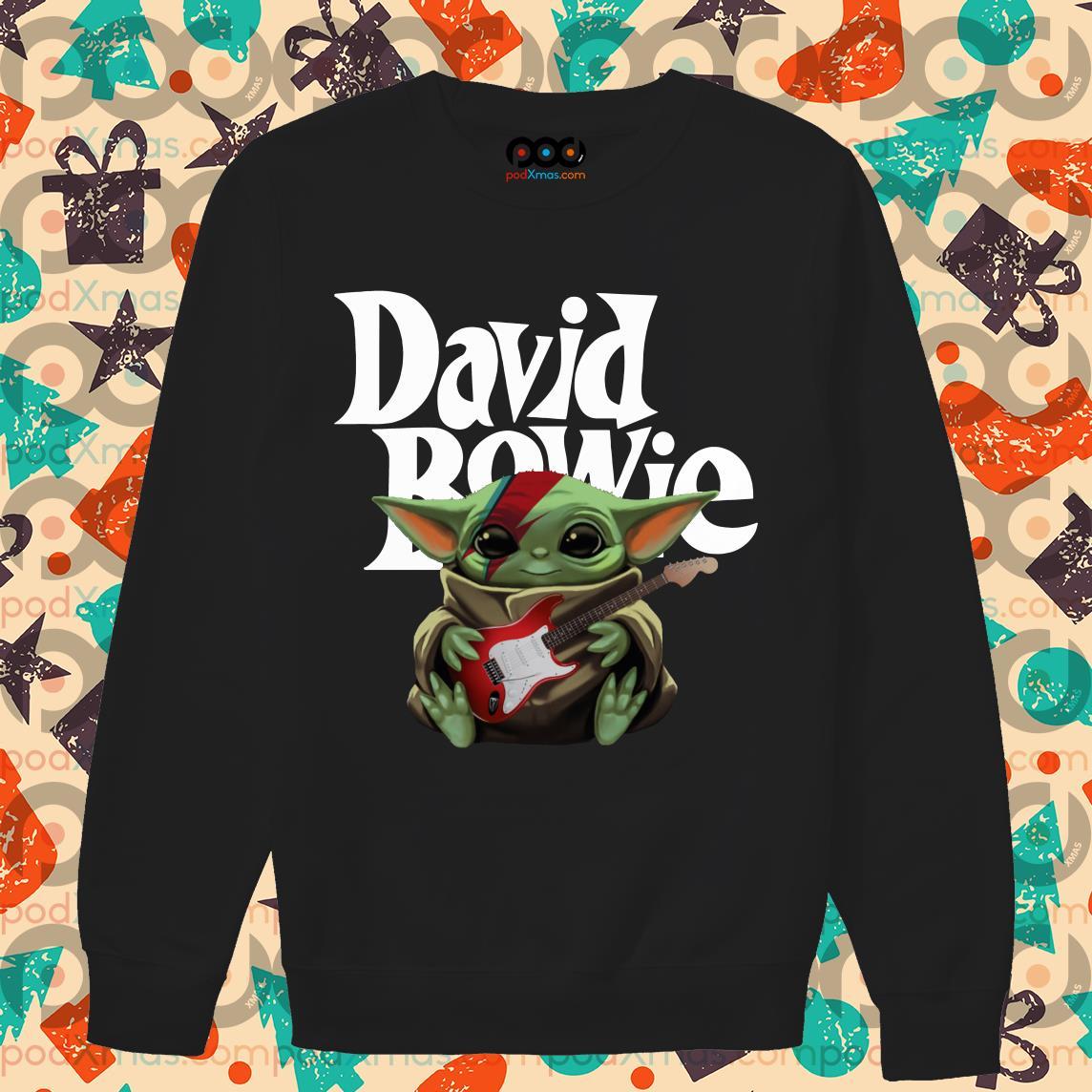 Baby Yoda hug David Bowie guitar sweater