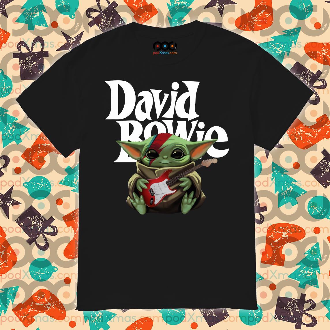Baby Yoda hug David Bowie guitar shirt