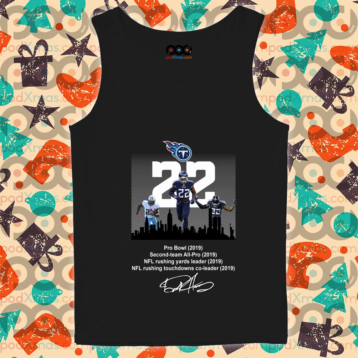 Tennessee Titans Derrick Henry Pro Bowl 2019 Second-Team All Pro NFL Rushing Yards leader 2019 signature tank top