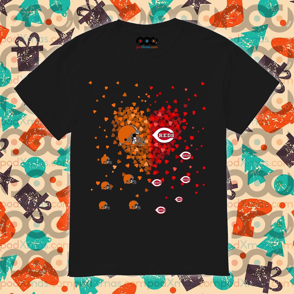 Cleveland Browns and Cincinnati Reds heart shirt