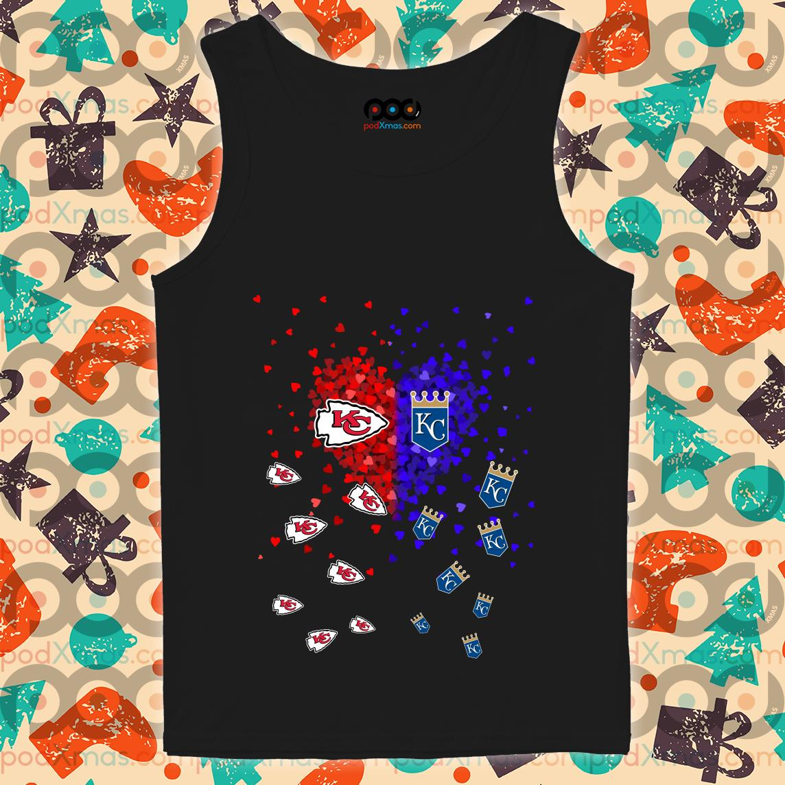 Kansas City Chiefs and Kansas City Royals Heart tank top