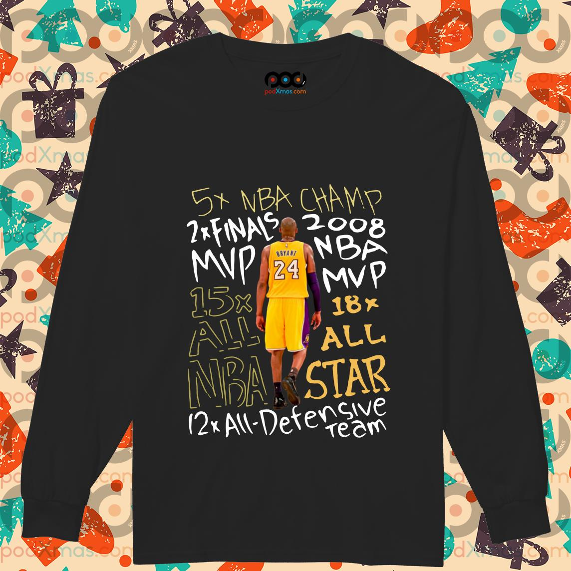 Kobe Bryant 24 5X NBA Champ 2x Finals 2007 MVP NBA long sleeve