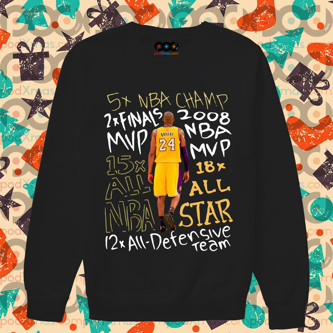 Kobe Bryant 24 5X NBA Champ 2x Finals 2007 MVP NBA sweater