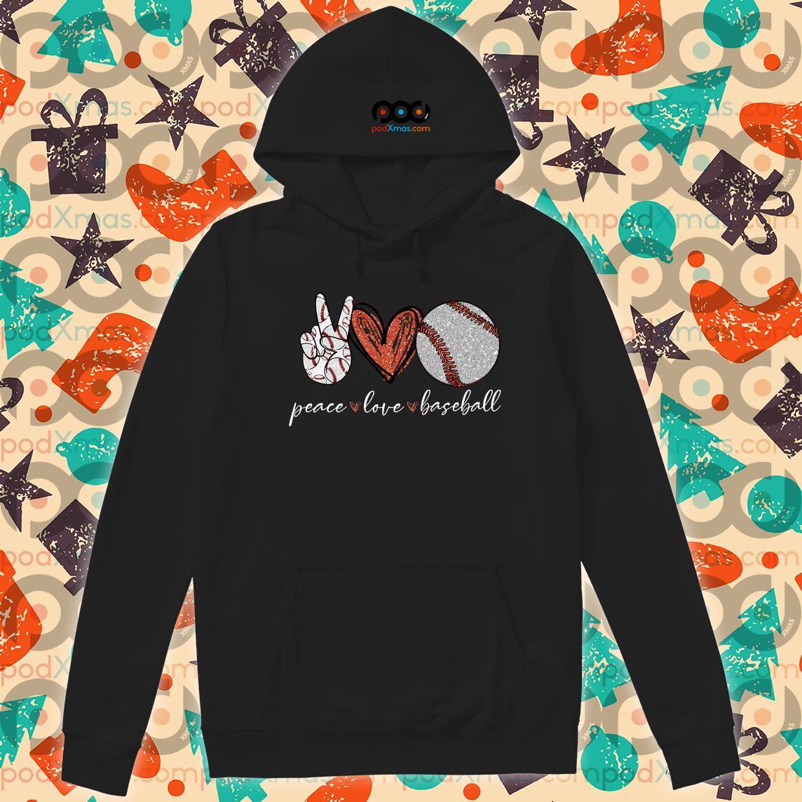 Peace love baseball hoodie