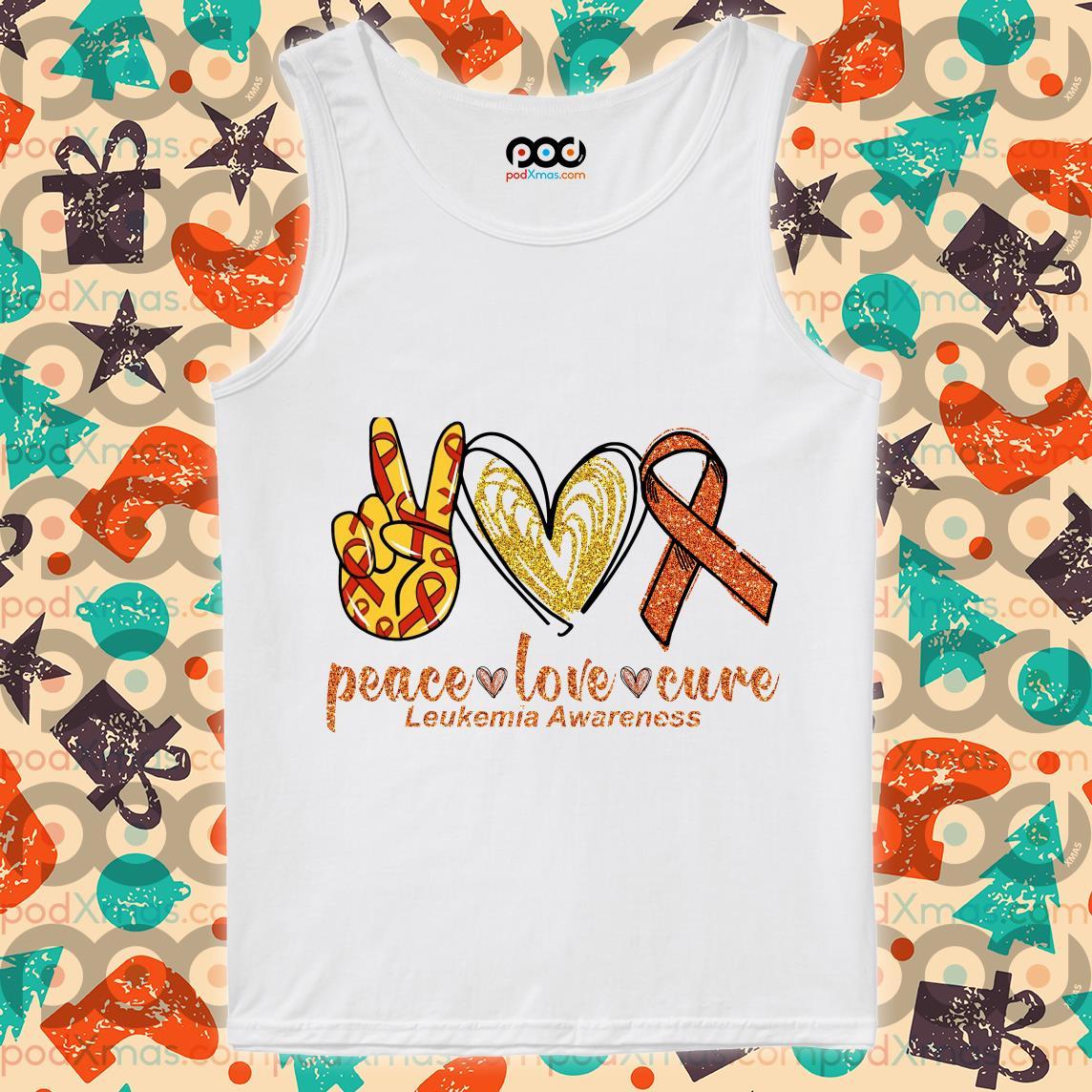 Peace love cure Leukemia Awareness tank top