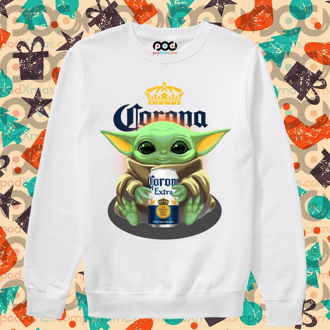 Baby Yoda hug Corona Extra beer sweater