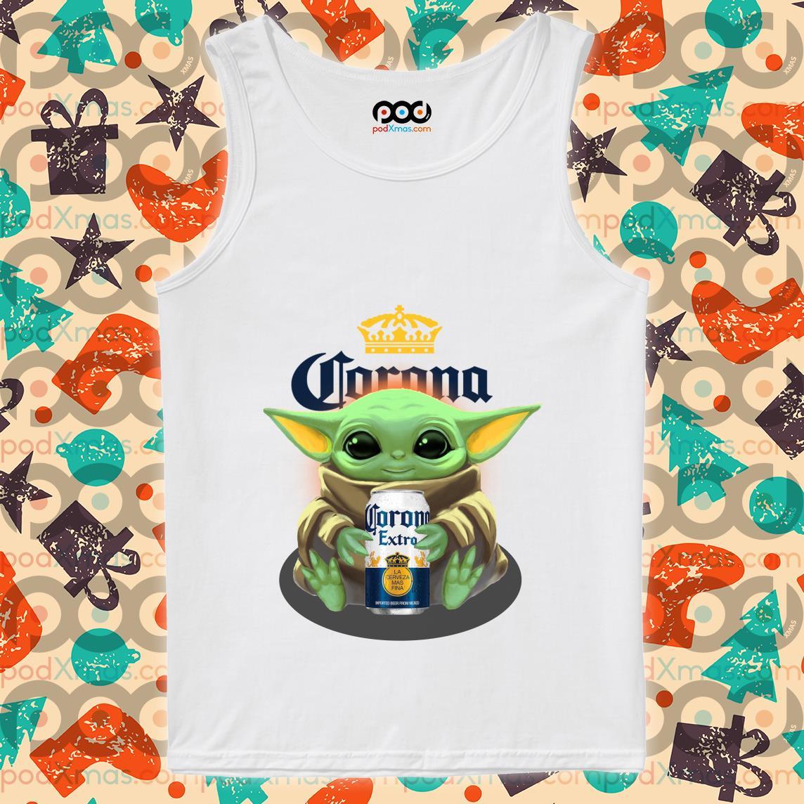 Baby Yoda hug Corona Extra beer tank top