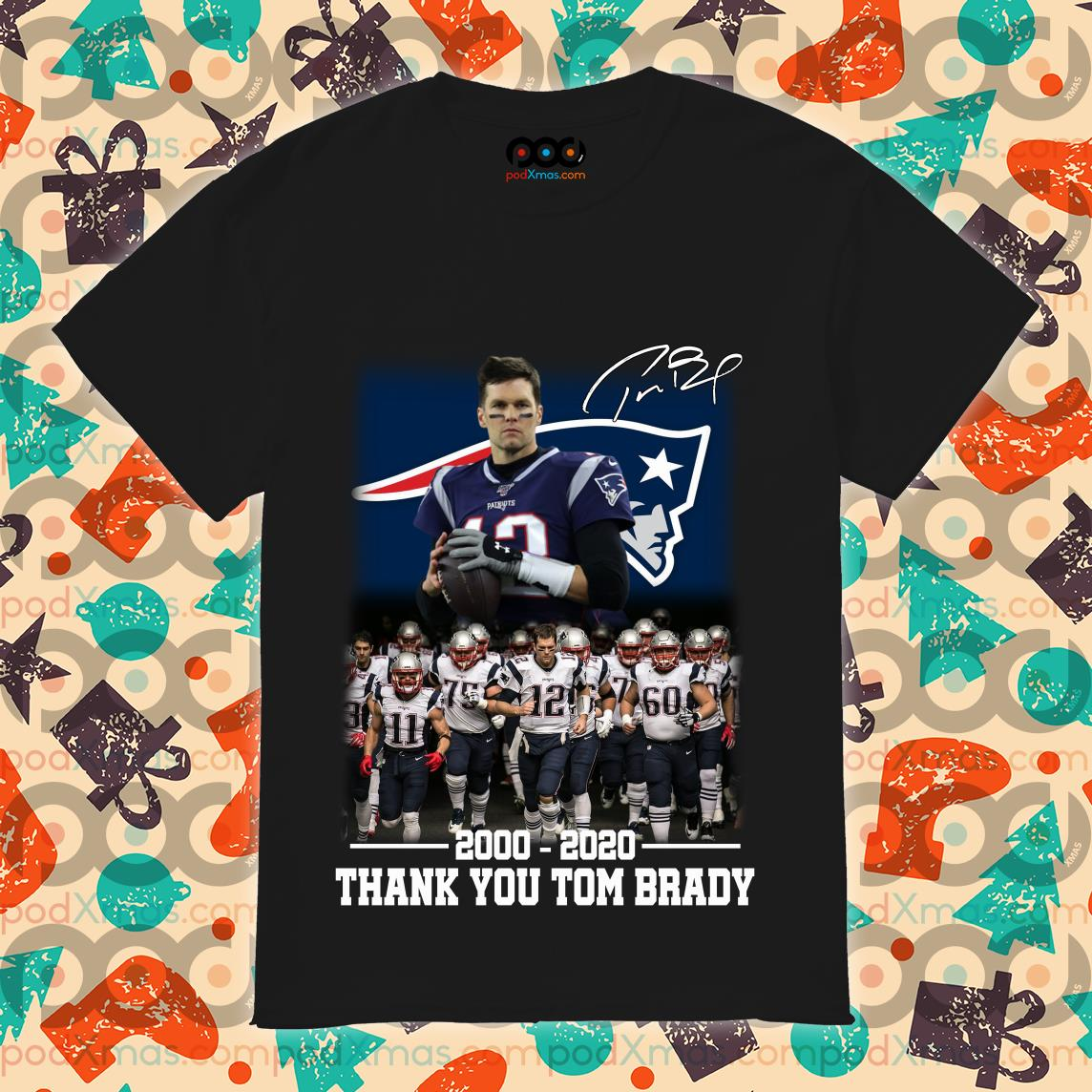 New England Patriots 2000-2020 thank you Tom Brady T-shirt