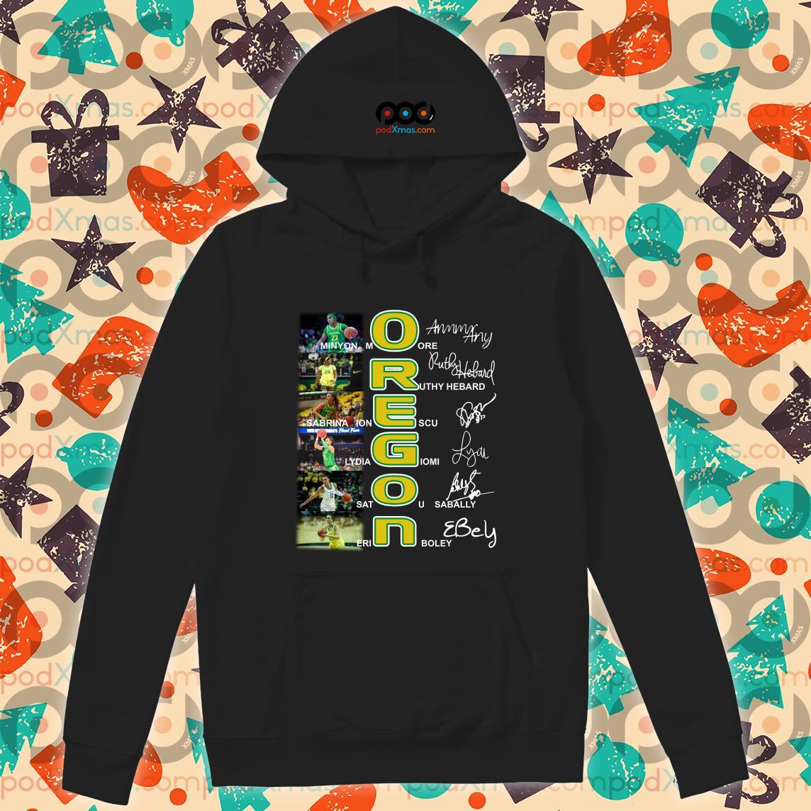 OREGON Minyon More Ruthy Hebard signatures T-hoodie