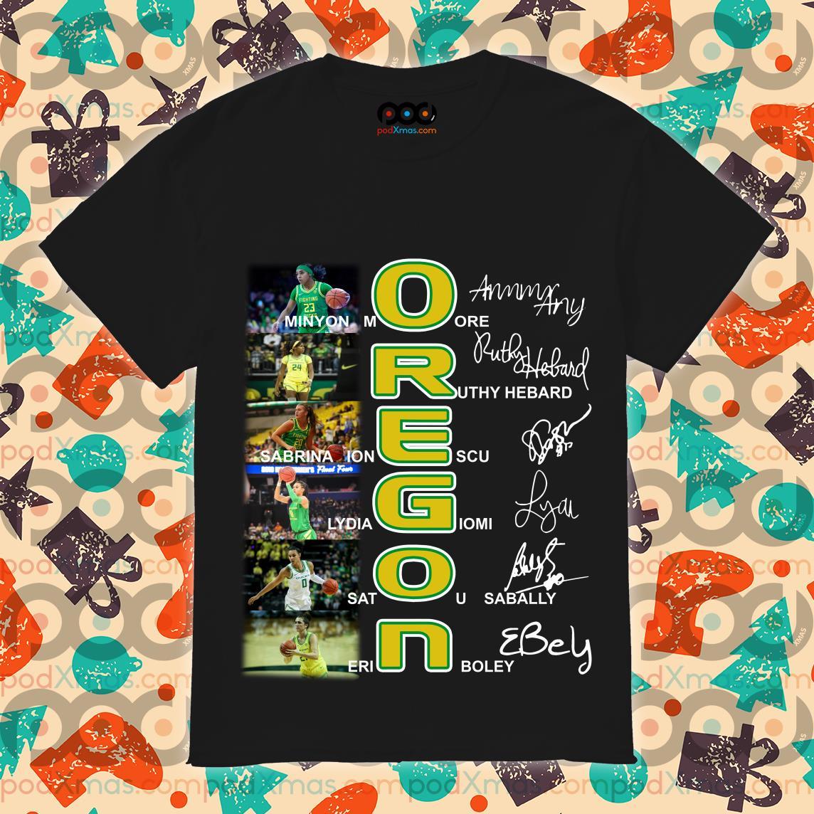 OREGON Minyon More Ruthy Hebard signatures T-shirt