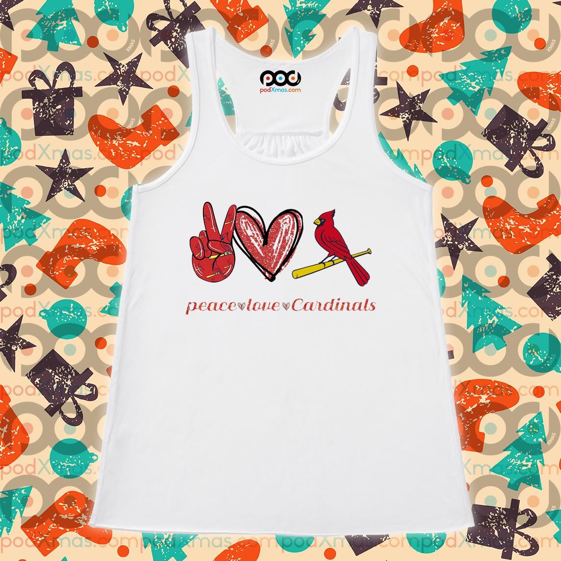 Peace love save Cardinals s Flowy tank PODxmas trang