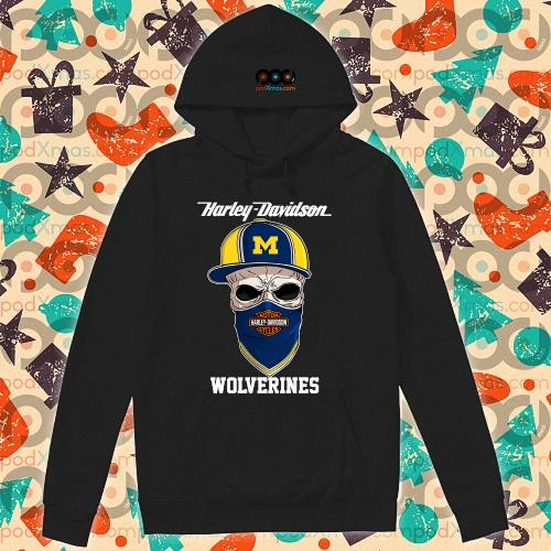 Skull Harley Davision wear a hat Wolveringes s hoodie