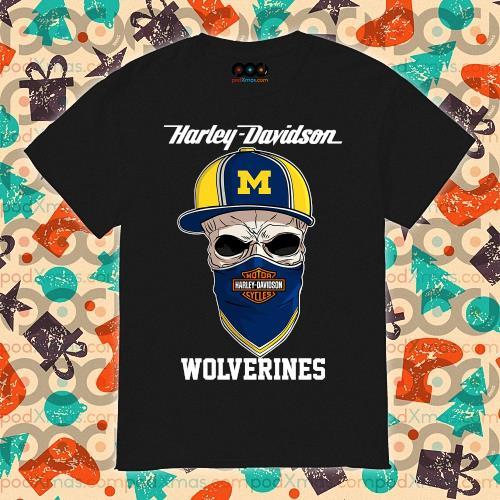 Skull Harley Davision wear a hat Wolveringes shirt