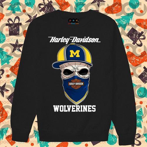 Skull Harley Davision wear a hat Wolveringes s sweater