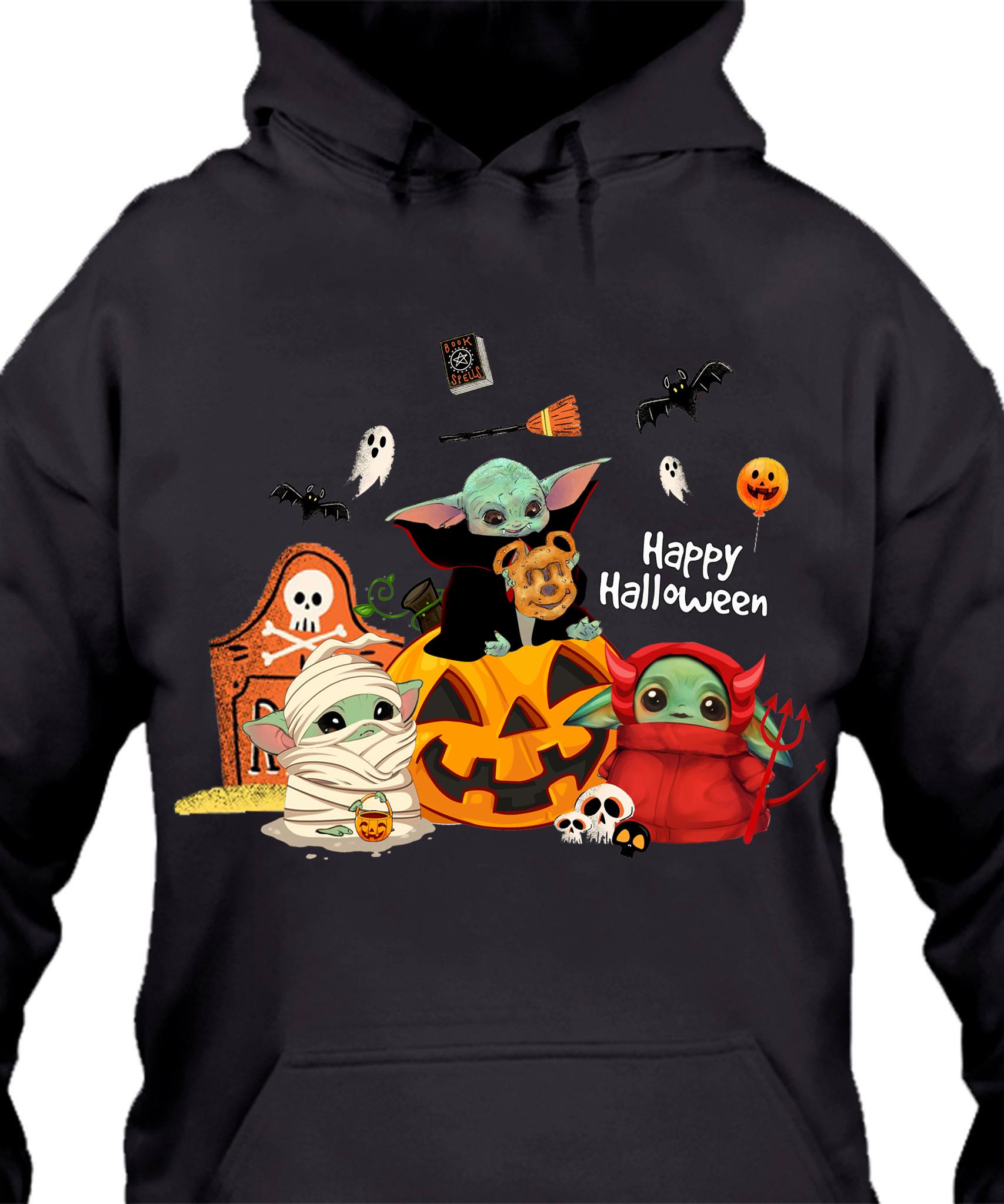 Baby Yoda Ghost Happy Halloween Shirt Podxmas