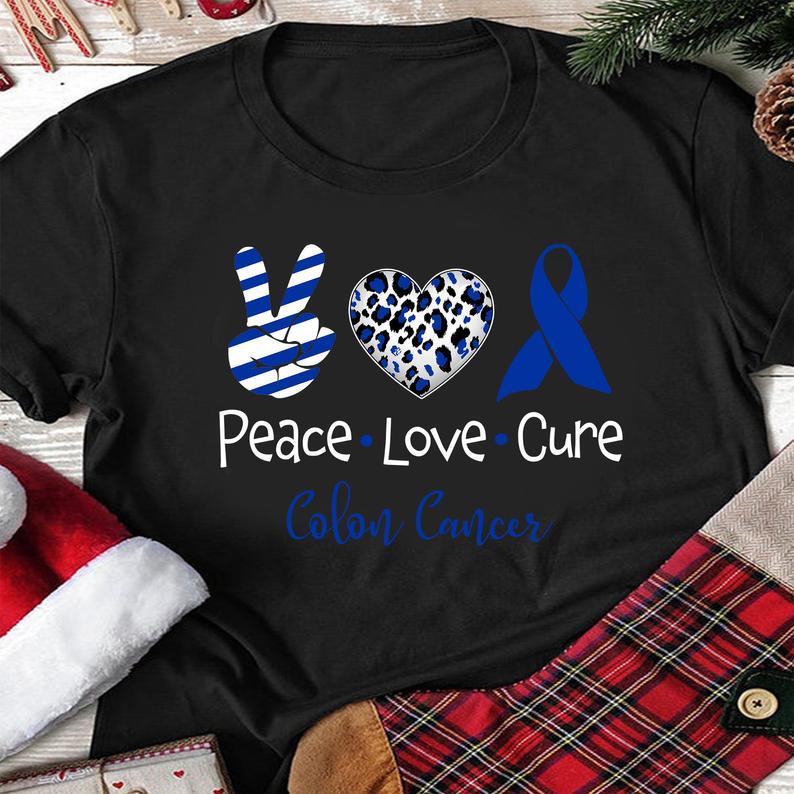 Peace Love Cure Dark Blue Ribbon Colon Cancer Awareness Tshirt Podxmas
