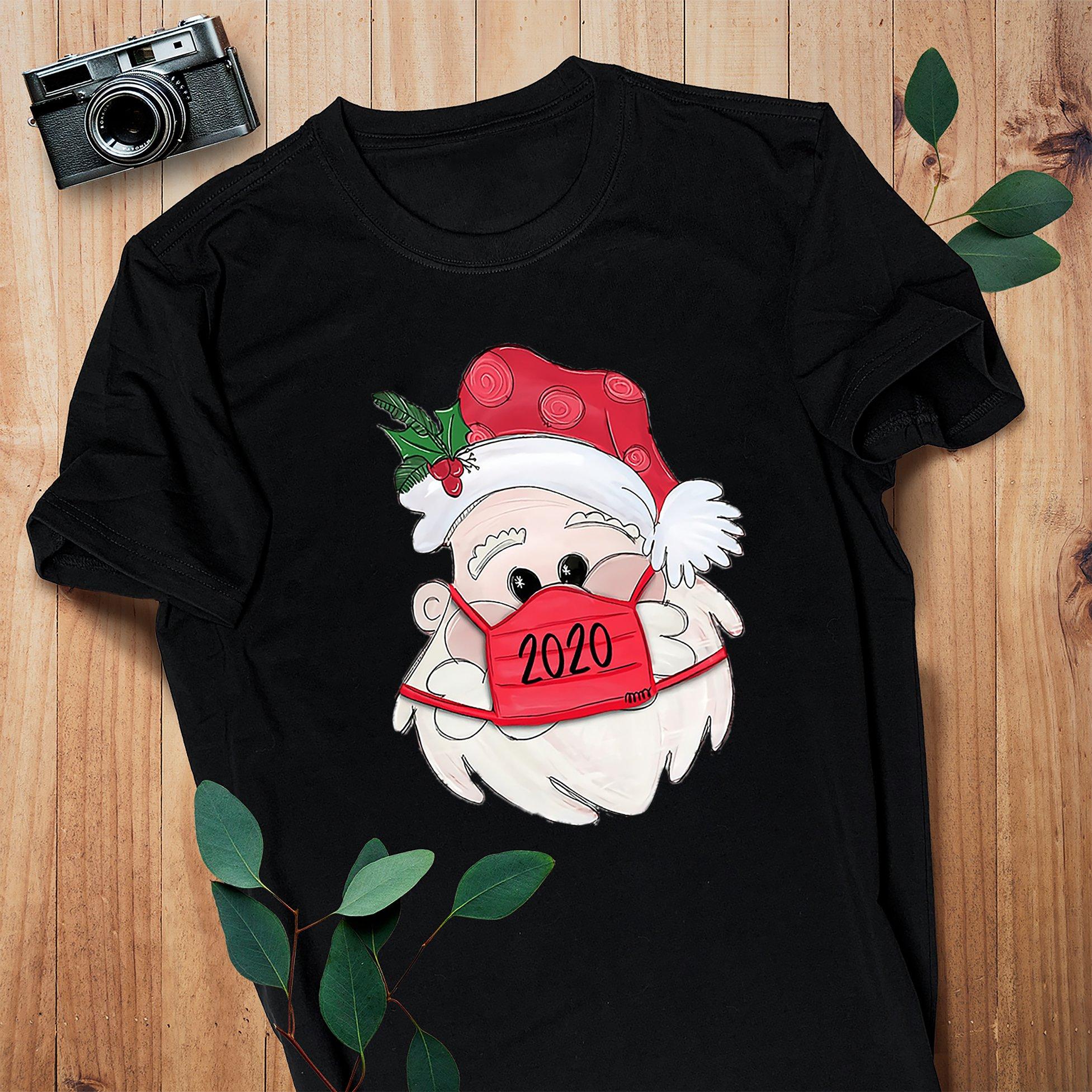 Santa face mask shirt