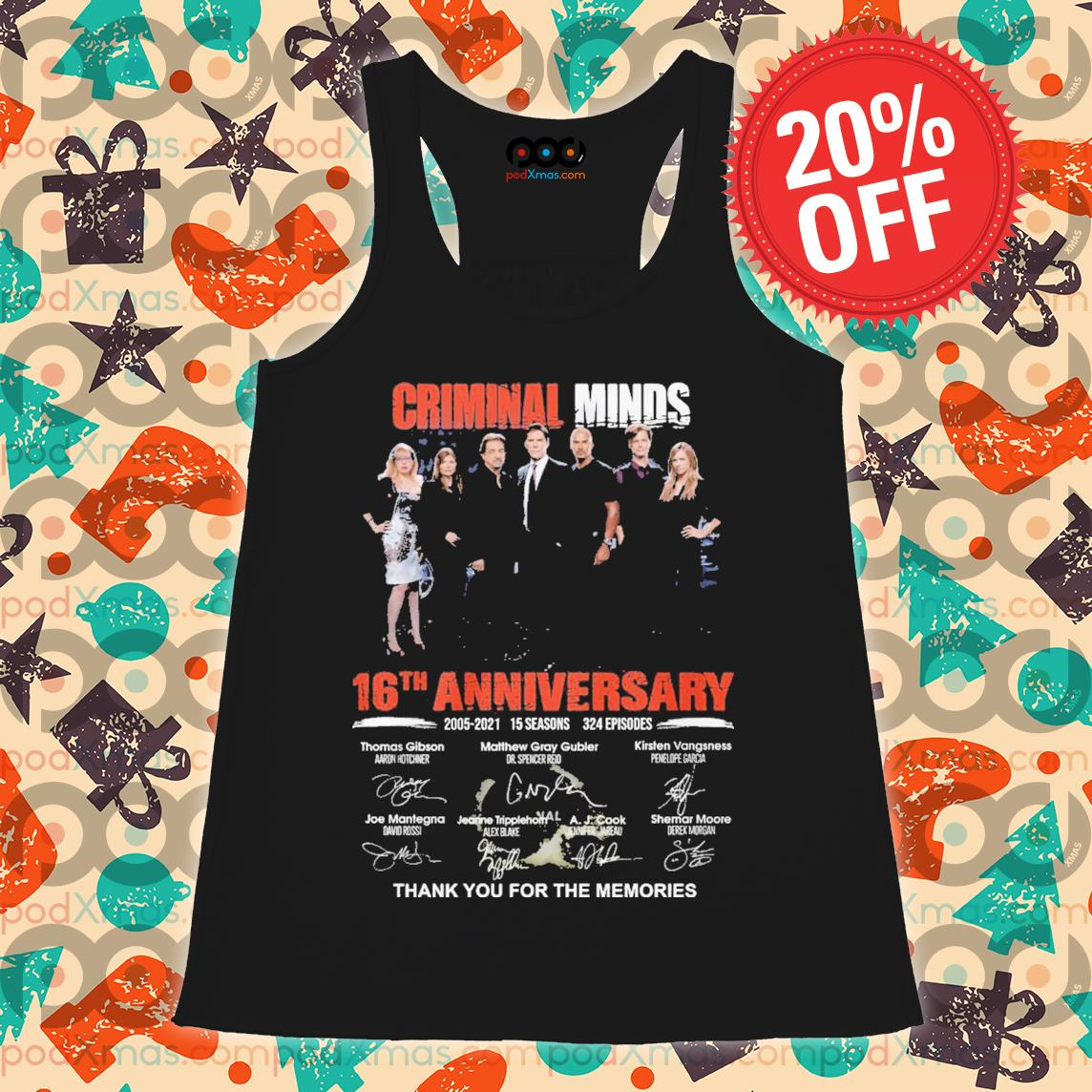 Criminal minds 16th Anniversary signature thank you for the memories s Flowy tank PODxmas den