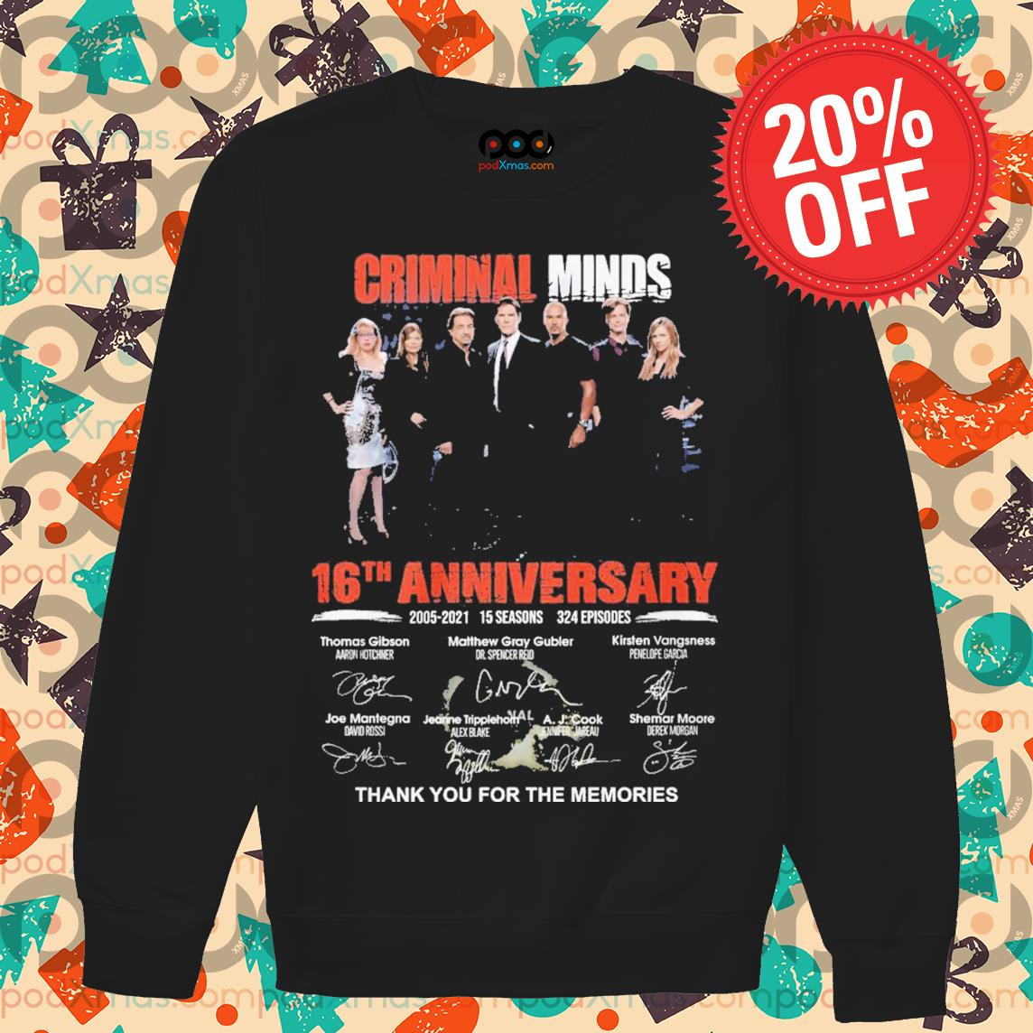 Criminal minds 16th Anniversary signature thank you for the memories s Sweater PODxmas den