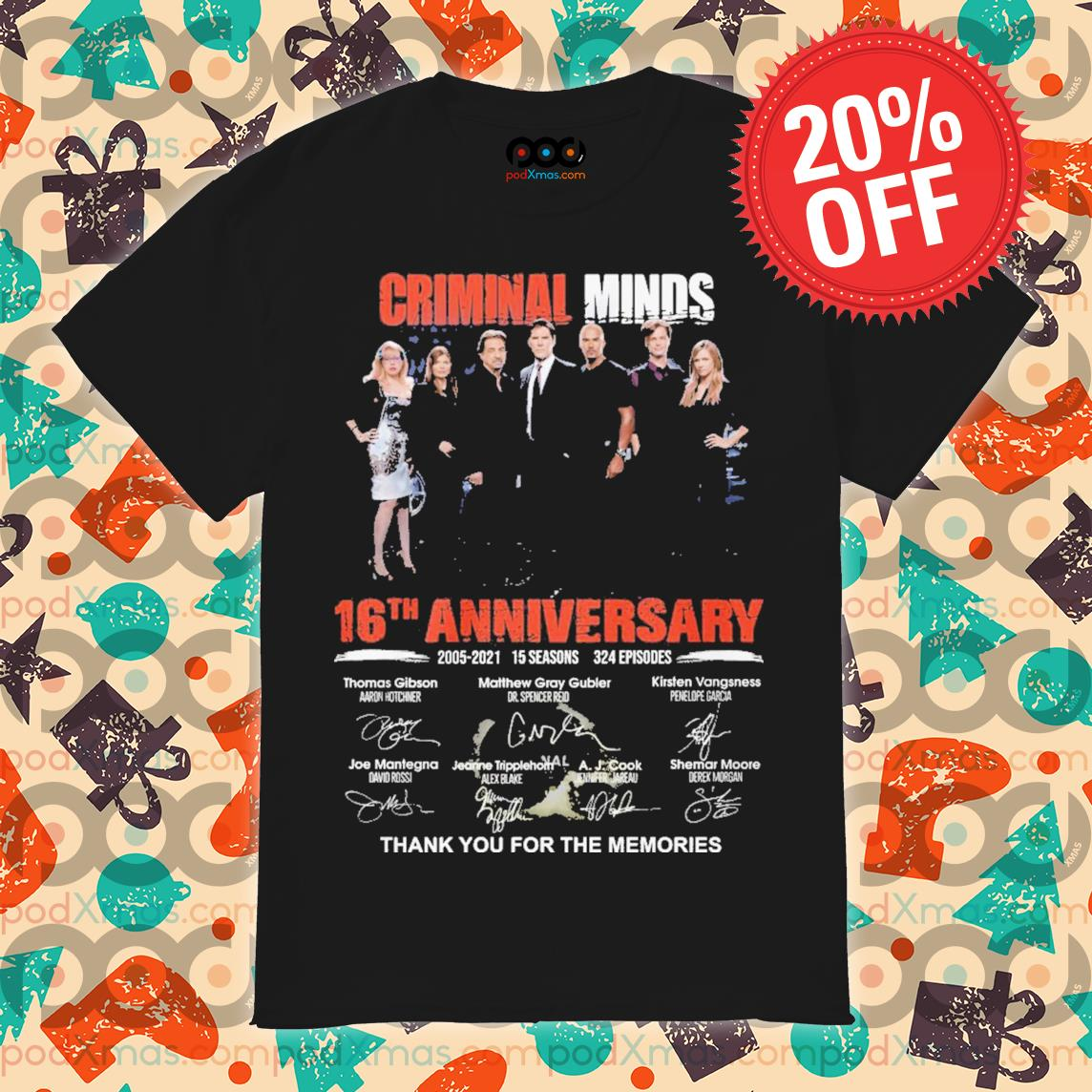 Criminal minds 16th Anniversary signature thank you for the memories shirt